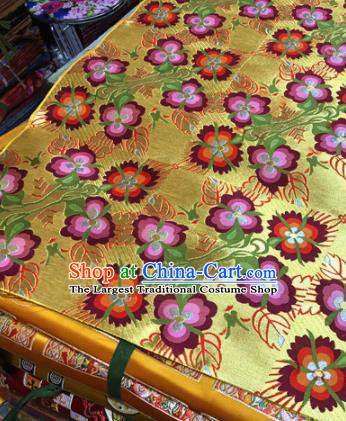 Chinese Traditional Flowers Pattern Golden Brocade Silk Fabric Tibetan Robe Satin Fabric Asian Buddhism Material