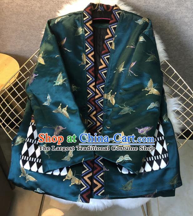 Chinese Traditional National Costume Tang Suit Cotton Padded Jacket Embroidered Butterfly Brocade Upper Outer Garment for Women