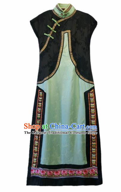Chinese Traditional National Costume Tang Suit Qipao Dress Green Silk Cheongsam for Women