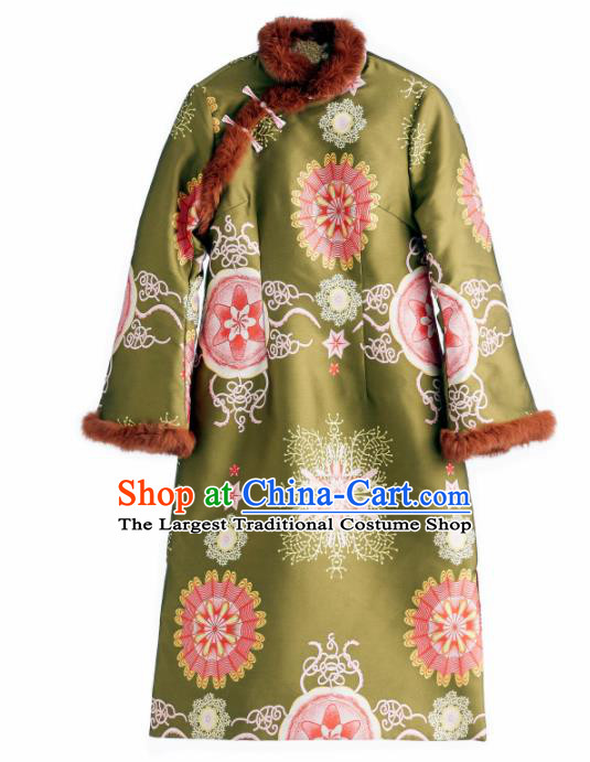 Chinese Traditional National Costume Tang Suit Qipao Dress Cotton Padded Green Cheongsam for Women