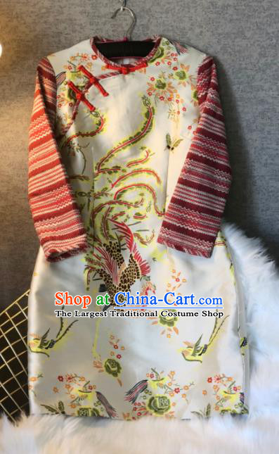Chinese Traditional National Costume Tang Suit Qipao Dress Printing Phoenix Cheongsam for Women