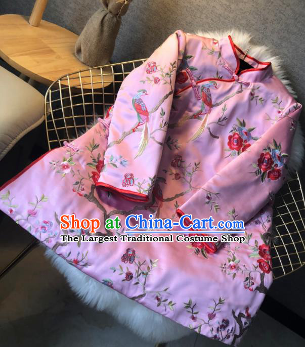 Chinese Traditional National Costume Embroidered Pink Cotton Padded Jacket Tang Suit Outer Garment for Women