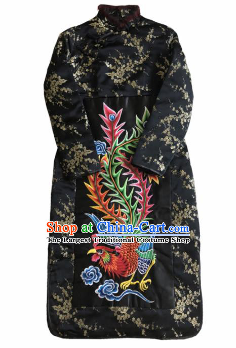Chinese Traditional National Costume Tang Suit Qipao Dress Embroidered Phoenix Black Cheongsam for Women