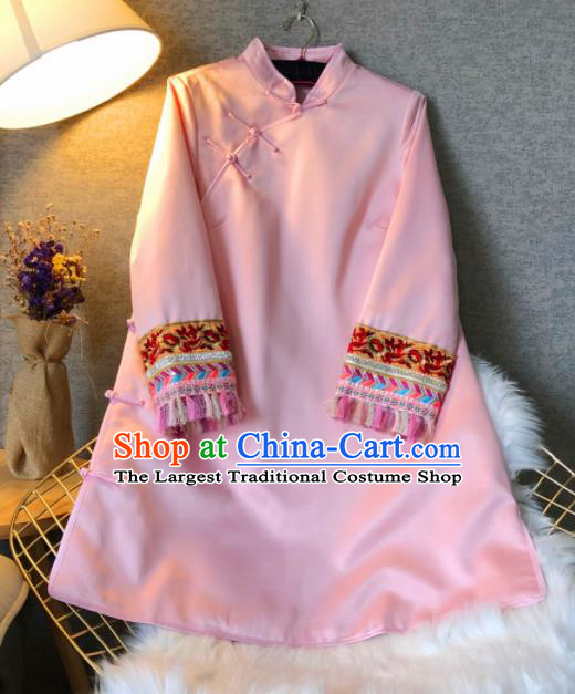 Chinese Traditional National Costume Tang Suit Qipao Dress Embroidered Pink Cheongsam for Women
