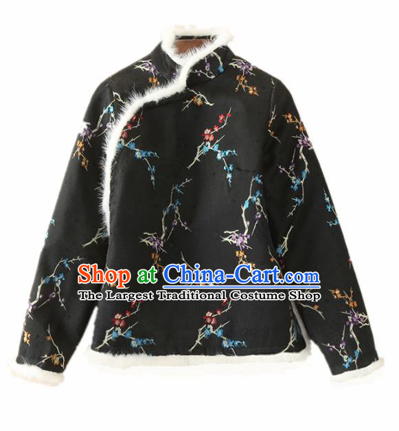 Chinese Traditional National Costume Embroidered Black Jacket Tang Suit Outer Garment for Women