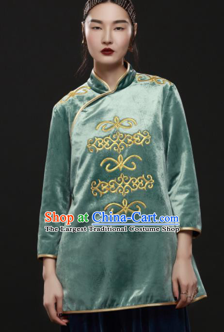 Chinese Traditional National Costume Embroidered Green Jacket Tang Suit Upper Outer Garment for Women