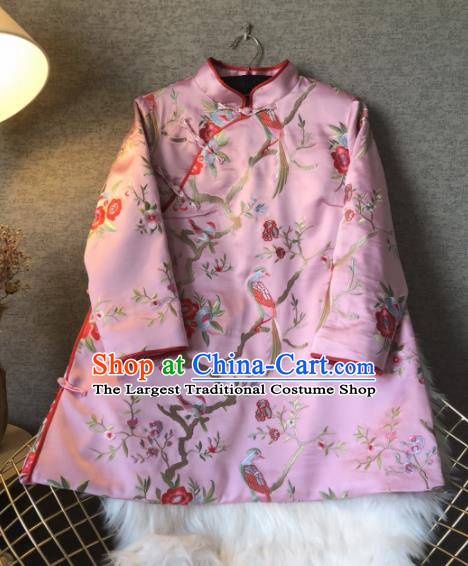 Chinese Traditional National Costume Tang Suit Embroidered Pink Jacket Outer Garment for Women