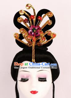 Chinese Ancient Peri Wigs and Golden Phoenix Tassel Hairpins Traditional Peking Opera Artiste Hair Accessories for Women