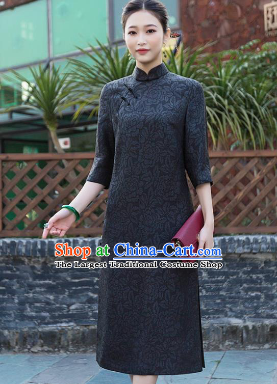 Chinese Traditional Tang Suit Black Qipao Dress National Costume Cheongsam for Women