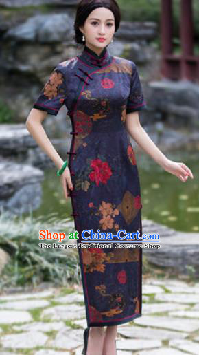 Chinese Traditional National Costume Tang Suit Navy Silk Qipao Dress Cheongsam for Women