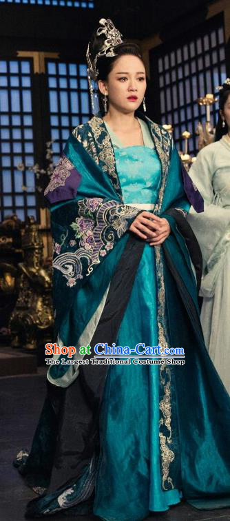 Chinese Traditional Ancient Empress Hanfu Dress Sui Dynasty Queen Dugu Embroidered Historical Costume and Headpiece for Women