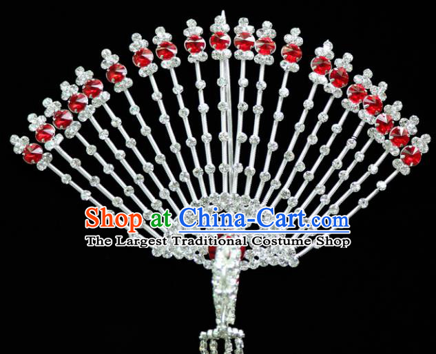 Chinese Ancient Princess Red Crystal Hairpins Traditional Peking Opera Artiste Headwear for Women