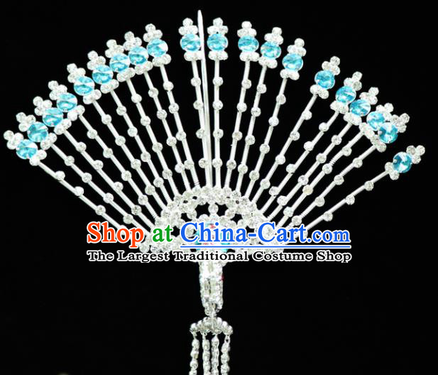 Chinese Ancient Princess Blue Crystal Hairpins Traditional Peking Opera Artiste Headwear for Women