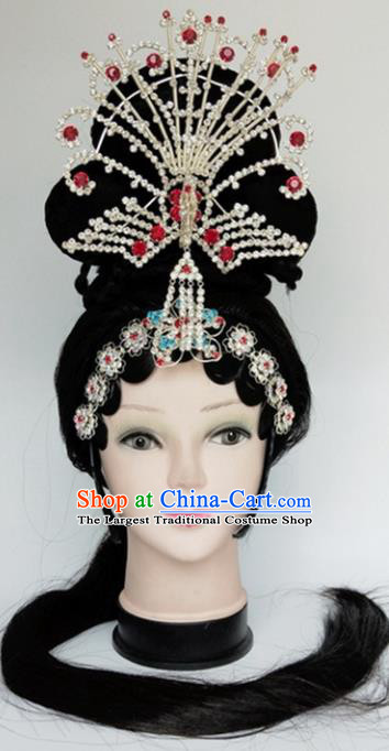 Chinese Ancient Peri Wigs and Crystal Phoenix Tassel Hairpins Traditional Peking Opera Imperial Consort Wig Sheath Hair Accessories for Women