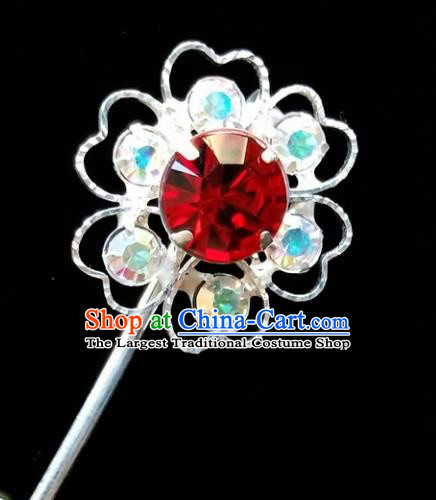 Chinese Ancient Princess Crystal Plum Blossom Hairpins Traditional Peking Opera Artiste Headwear for Women