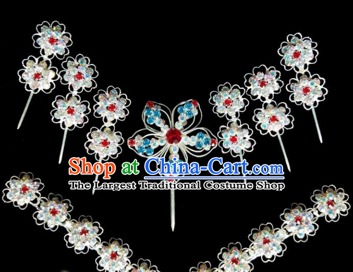 Chinese Ancient Princess Crystal Hairpins Traditional Peking Opera Artiste Hair Clips Headwear for Women
