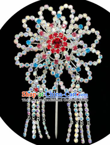 Chinese Ancient Princess Crystal Tassel Hairpins Traditional Peking Opera Artiste Hair Clips Headwear for Women