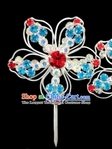 Chinese Ancient Princess Crystal Flower Hairpins Traditional Peking Opera Artiste Hair Clips Headwear for Women
