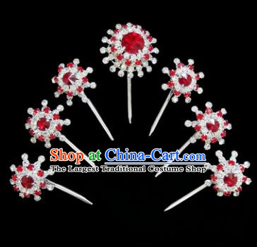 Chinese Ancient Princess Red Crystal Hairpins Traditional Peking Opera Artiste Hair Clips Headwear for Women
