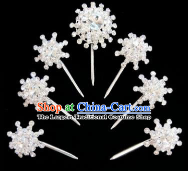 Chinese Ancient Princess White Crystal Hairpins Traditional Peking Opera Artiste Hair Clips Headwear for Women