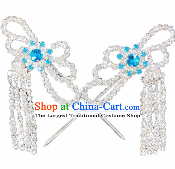 Chinese Ancient Princess Blue Crystal Tassel Hairpins Traditional Peking Opera Artiste Hair Clips Headwear for Women