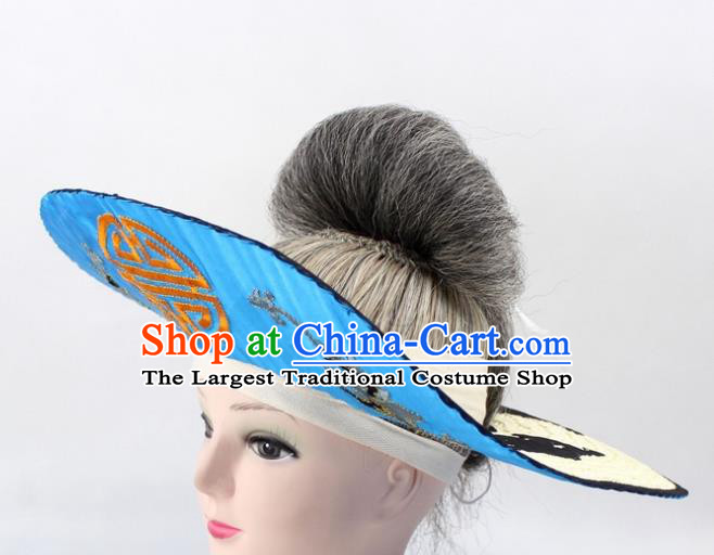 Chinese Ancient Fishermen Blue Hat Traditional Peking Opera Old Male Headwear for Men