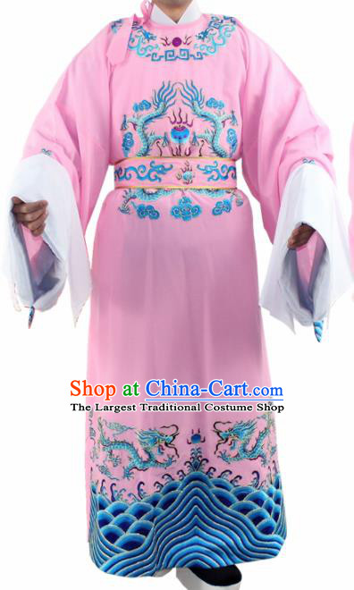 Chinese Ancient Number One Scholar Embroidered Pink Robe Traditional Peking Opera Niche Costume for Men