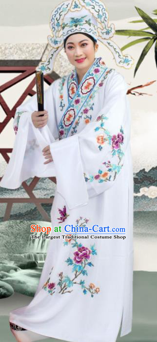 Chinese Ancient Nobility Childe White Embroidered Robe Traditional Peking Opera Niche Costume for Men