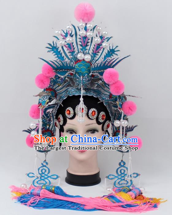 Chinese Ancient Princess Tassel Phoenix Coronet Traditional Peking Opera Diva Headwear for Women