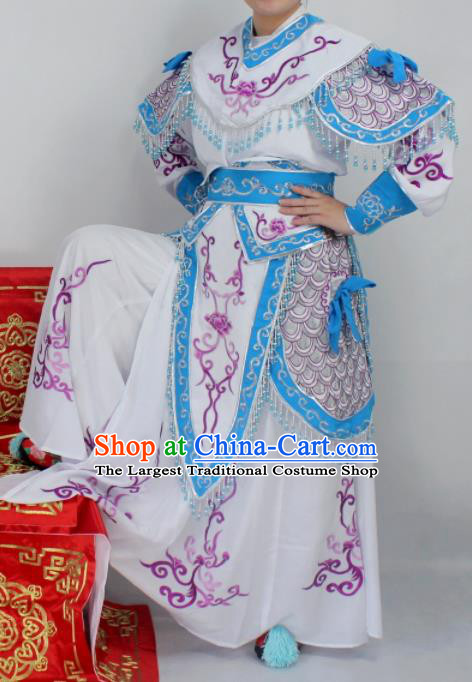 Chinese Ancient Swordswoman White Embroidered Dress Traditional Peking Opera Blues Artiste Costume for Women