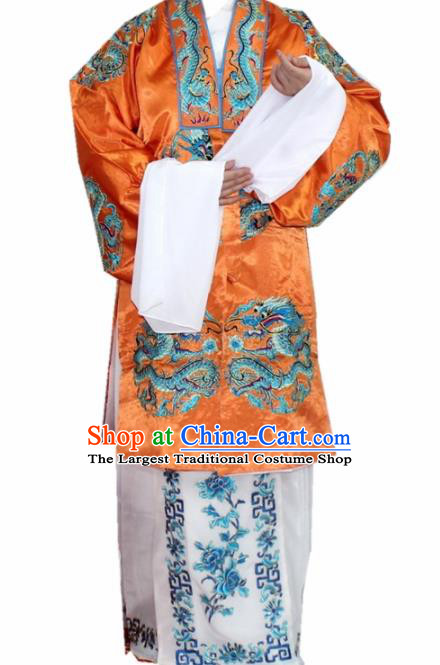 Chinese Ancient Old Lady Embroidered Orange Dress Traditional Peking Opera Dowager Countess Costume for Women