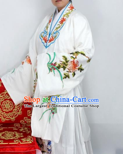 Chinese Ancient Princess Embroidered Chrysanthemum White Dress Traditional Peking Opera Diva Costume for Women
