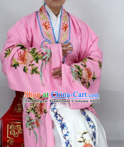 Chinese Ancient Princess Embroidered Chrysanthemum Pink Dress Traditional Peking Opera Diva Costume for Women