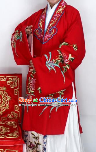 Chinese Ancient Princess Embroidered Chrysanthemum Red Dress Traditional Peking Opera Diva Costume for Women