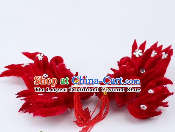 Chinese Ancient Princess Red Velvet Phoenix Tassel Hairpins Traditional Peking Opera Artiste Headwear for Women