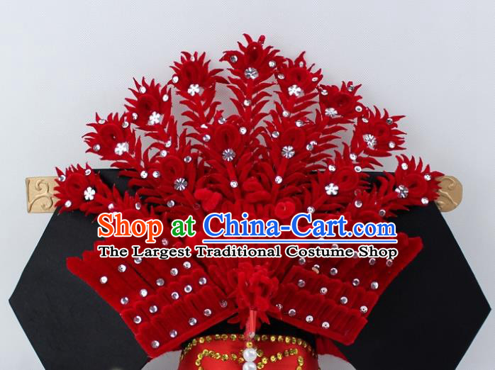 Chinese Ancient Qing Dynasty Queen Red Velvet Phoenix Hairpins Traditional Peking Opera Artiste Headwear for Women