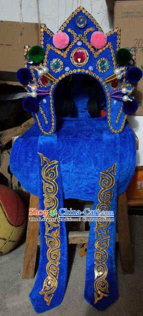 Chinese Traditional Sichuan Opera Face Changing Hat Handmade Blue Helmet for Men