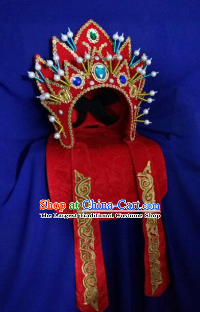 Chinese Traditional Sichuan Opera Face Changing Hat Handmade Red Helmet for Men