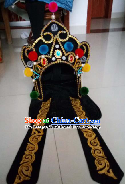 Chinese Traditional Sichuan Opera Headwear Face Changing Black Hat Handmade Helmet for Men