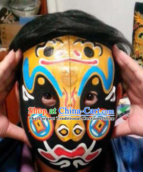 Chinese Traditional Sichuan Opera Prop Face Changing Masks Handmade Painting Yellow Facial Makeup