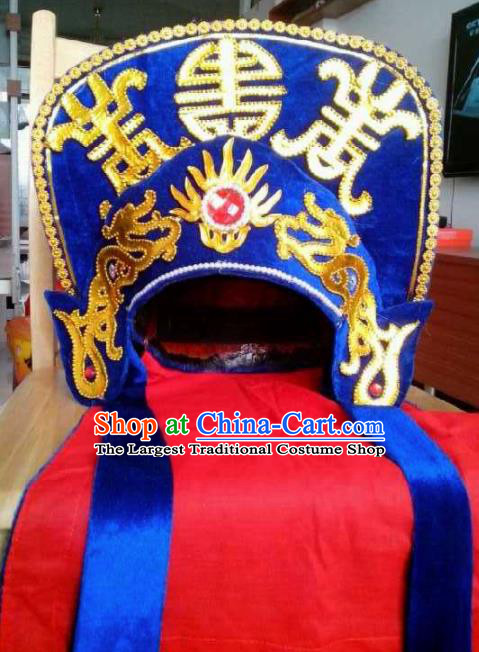 Chinese Traditional Sichuan Opera Headwear Face Changing Royalblue Hat Handmade Helmet for Men