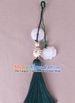 Chinese Traditional Jade Lotus Pendant Hanfu Green Tassel Accessories for Women
