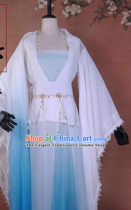 Chinese Ancient Peri Blue Hanfu Dress Traditional Tang Dynasty Princess Costume for Women
