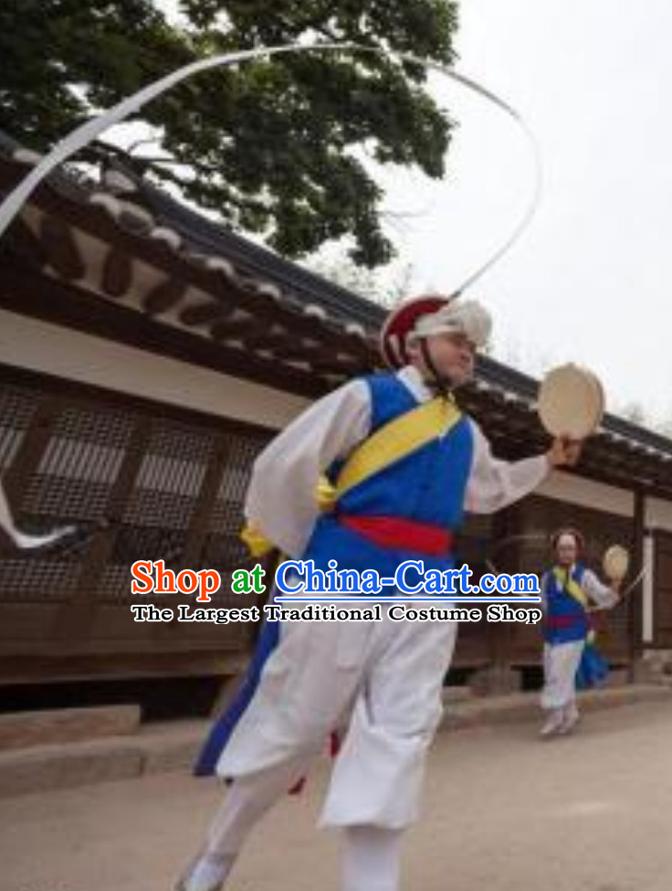 Korean Traditional White Shirt White Pants Costumes for Playing Drums