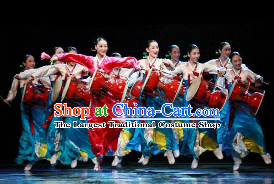 Korean Traditional Blue Hanbok Costumes for Playing Drums