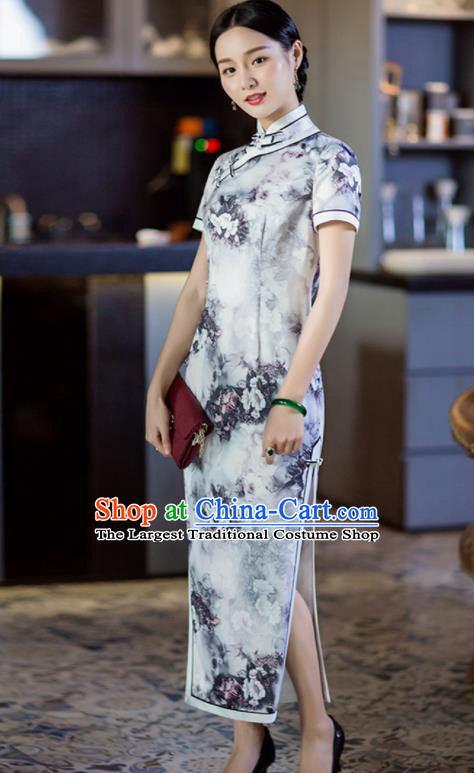 Chinese Traditional Tang Suit White Silk Qipao Dress National Costume Cheongsam for Women
