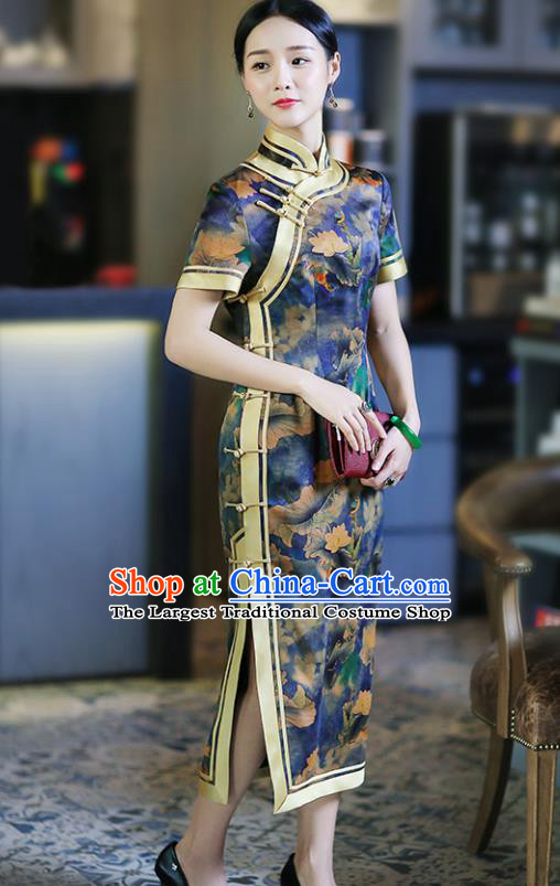 Chinese Traditional Tang Suit Printing Lotus Blue Silk Qipao Dress National Costume Cheongsam for Women