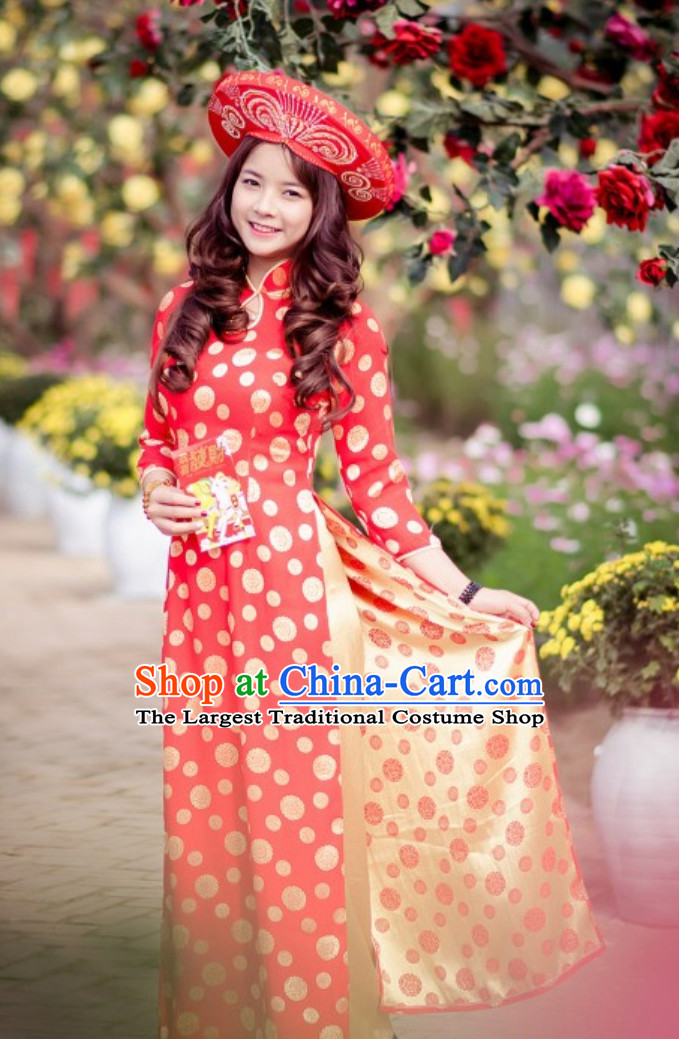 Traditional Vietnam Wedding Dresses and Hat Complete Set for Bride