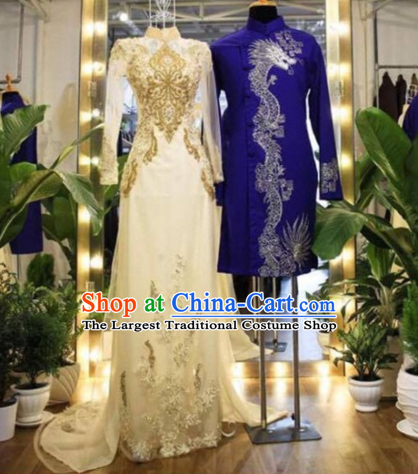 Classical Traditional Vietnam Wedding Dresses Complete Set for Bride and Bridegroom
