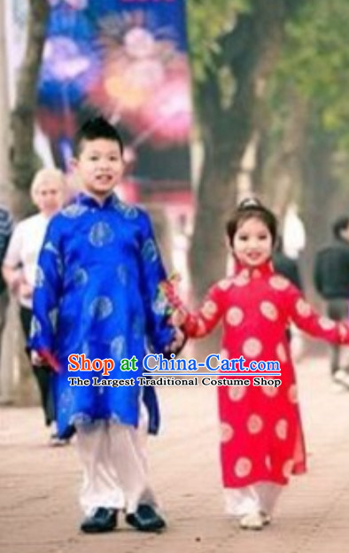Classical Traditional Vietnam Dress Complete Set for Children Girls Boys
